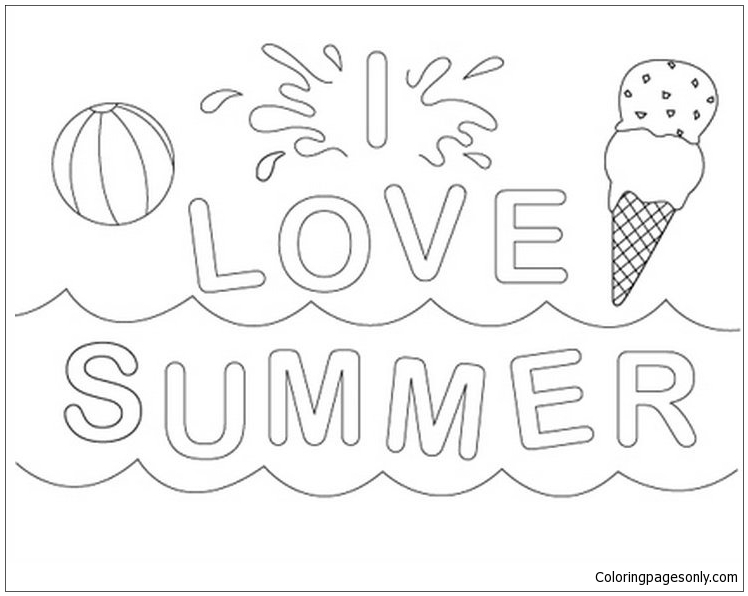 I Love Summer Coloring Page