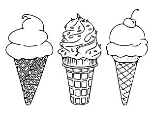 Ice Cream 4 Coloring Page