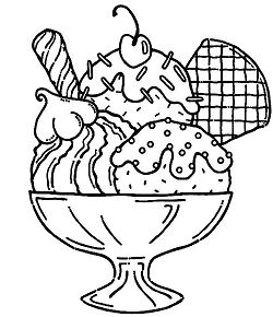 Ice Cream Served With Wafer And Whipped Cream Coloring Page