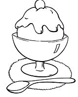 Ice Cream Sundae 1 Coloring Page