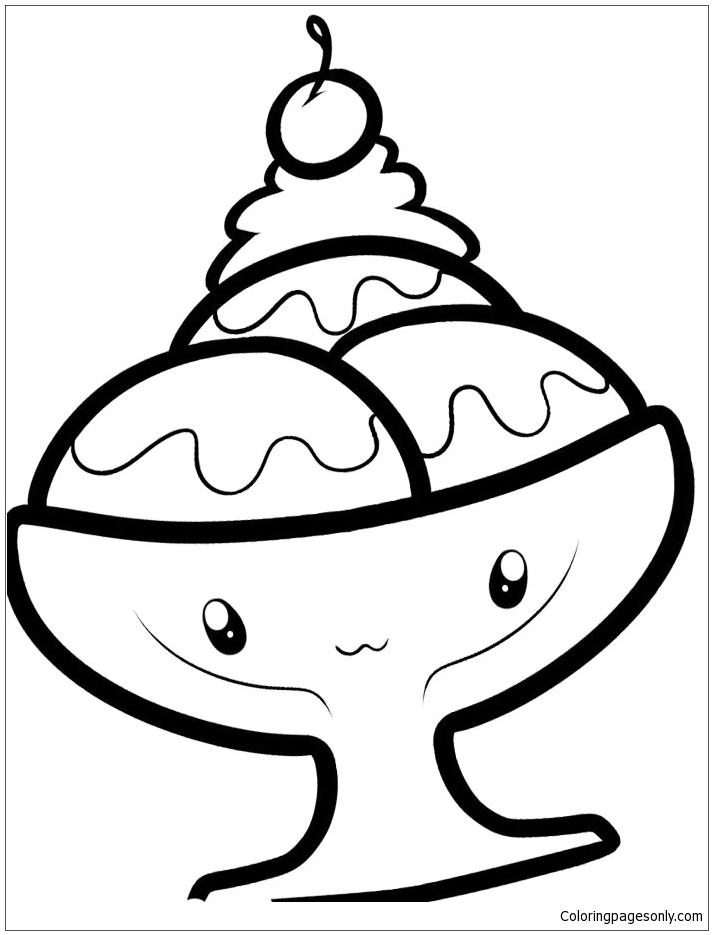 Ice Cream Sundae In A Glass Coloring Pages Food Coloring Pages Free Printable Coloring Pages Online