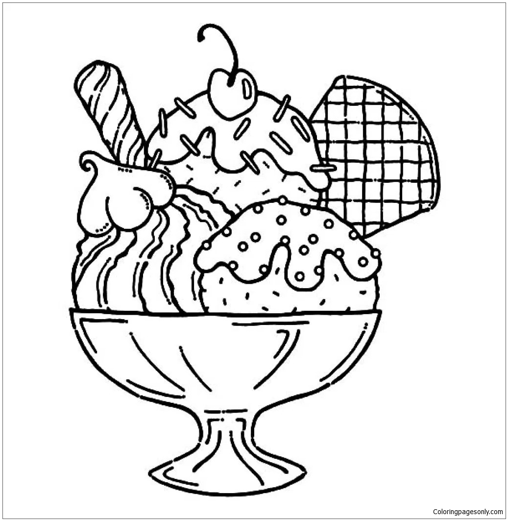 Ice cream sundae coloring page free coloring pages online for Free coloring pages of ice cream