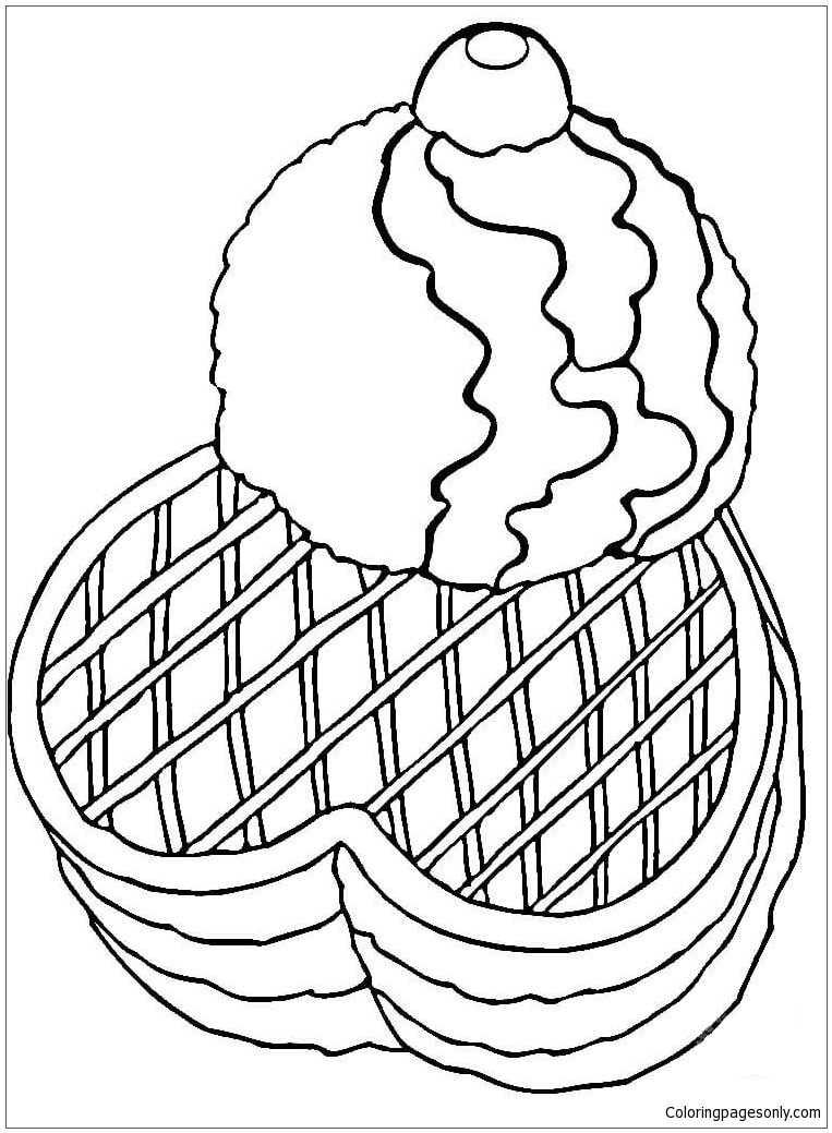Ice cream with waffles coloring page free coloring pages for Waffle coloring page
