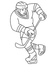 Ice Hockey Playing Coloring Page