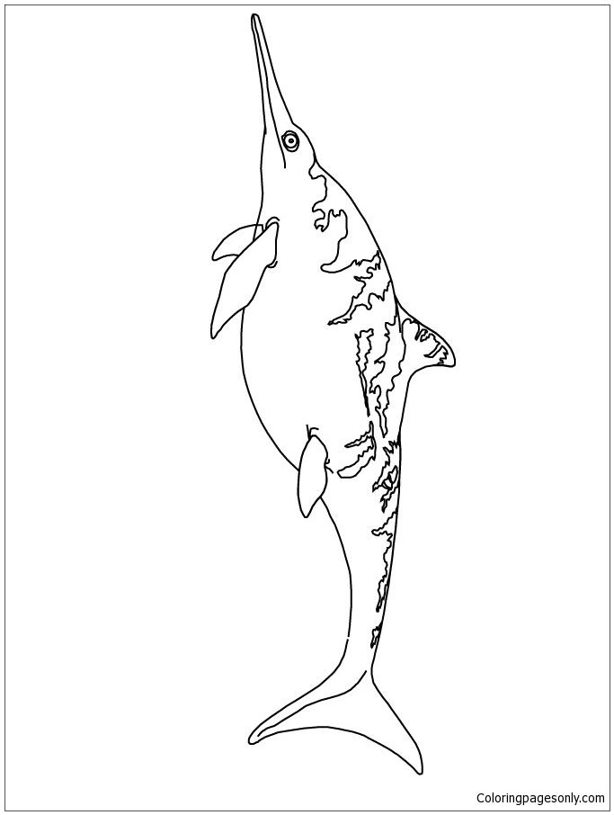 Ichthyosaurus Dinosaur Coloring Page