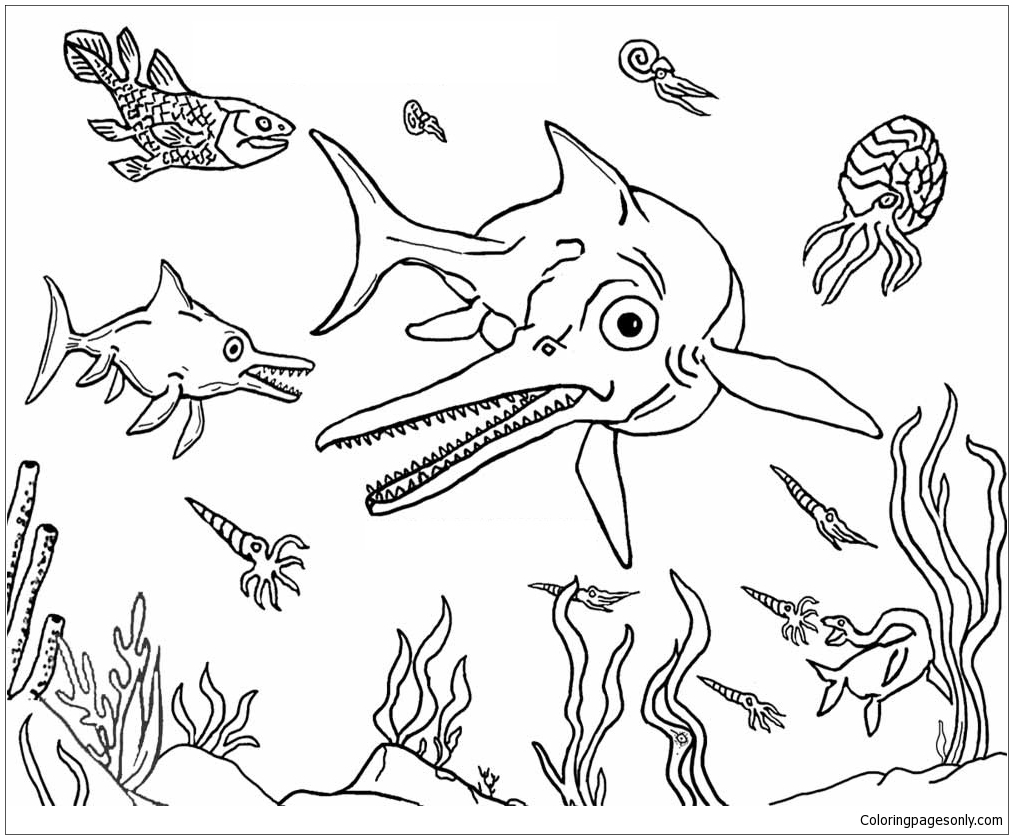 Ichthyosaurus Ocean Life Late Triassic Dinosaur Coloring Page