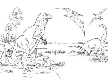 Iguanodon, Cetiosaurus and Pteranodons