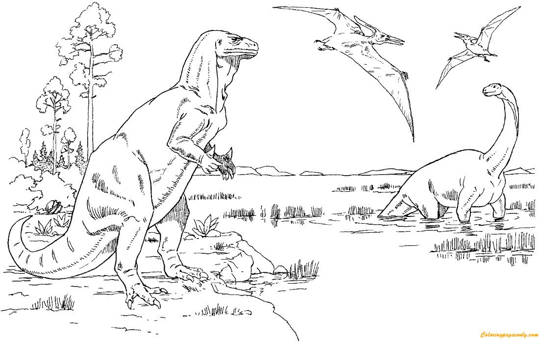 Iguanodon cetiosaurus and pteranodons coloring page for Iguanodon coloring page