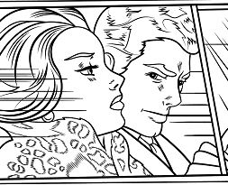 In the Car by Roy Lichtenstein Coloring Page