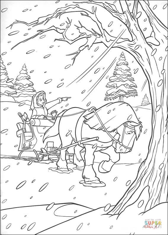 Horse And Carriage In Winter From Beauty And The Beast Coloring Page