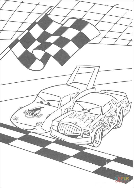 McQueen And Chick Hicks On Starting Line From Disney Cars Coloring Page