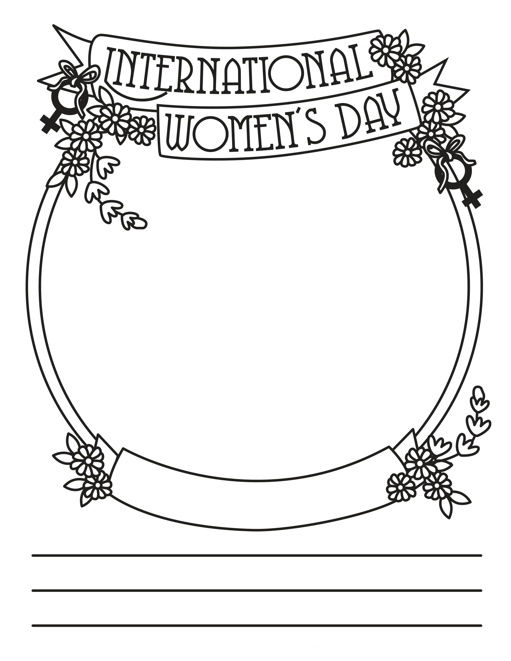 International Womens Day card Coloring Page