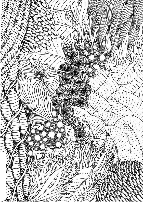 Intricate Ocean Hard Coloring Page