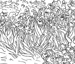 Irises By Vincent Van Gogh Coloring Page