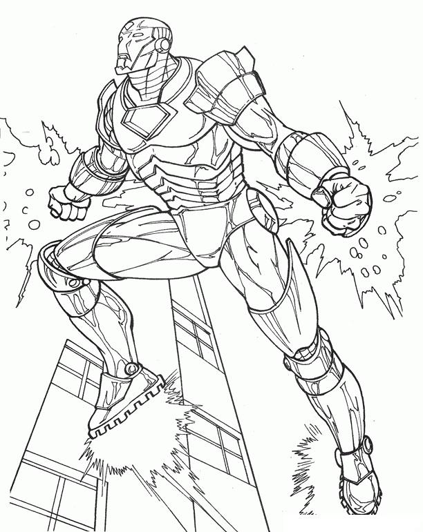 Iron Man Fictional Superhero Coloring Page