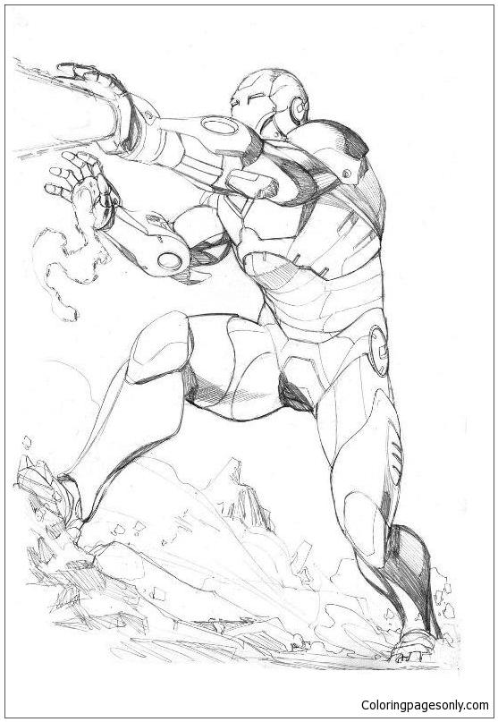 Iron Man Fighting Coloring Page