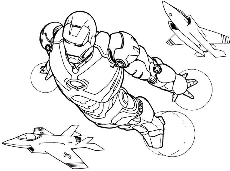 Iron Man Flying with Plane Coloring Page