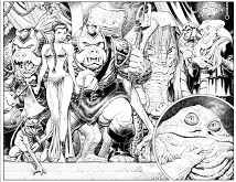Jabba the Hutt and his court from Star Wars Coloring Page