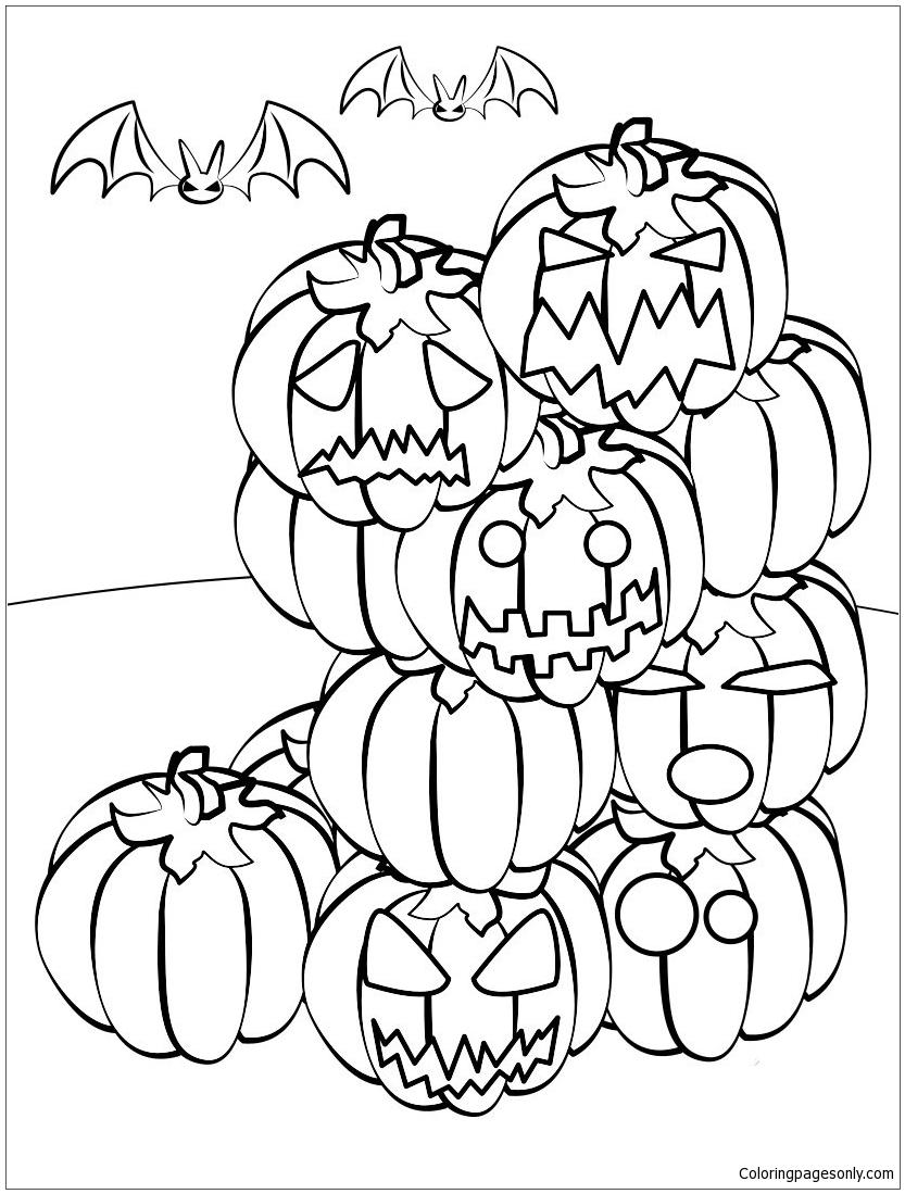 Jack O Lantern Gathering Coloring Page - Free Coloring ...