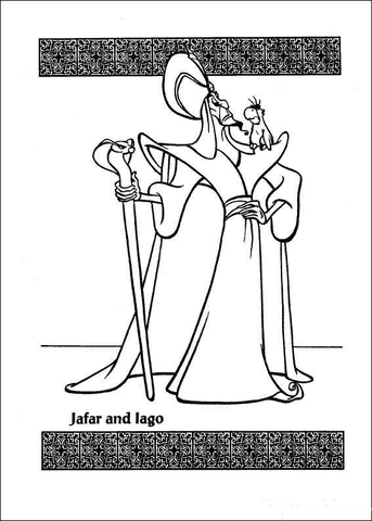 Jafar And lago  from Aladdin Coloring Page