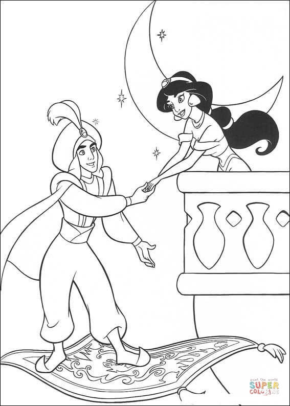 Jasmine And Aladdin  From Aladdin Coloring Page