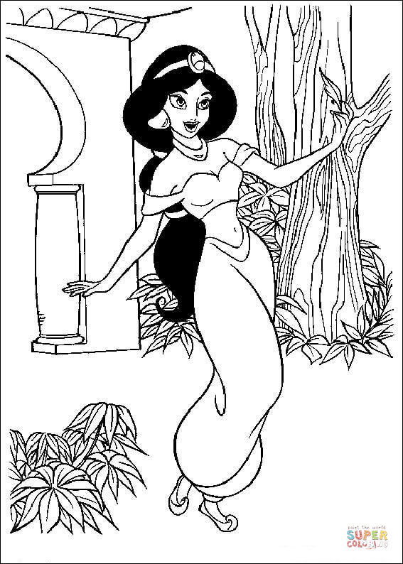 Jasmine In The Garden From Aladdin Coloring Page Free Coloring