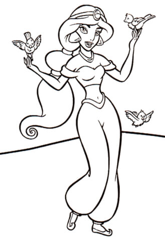 Jasmine With Birds from Aladdin Coloring Page