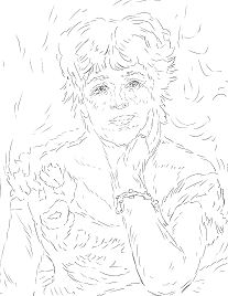 Jeanne Samary in a Low Necked Dress by Pierre Auguste Renoir  Coloring Page