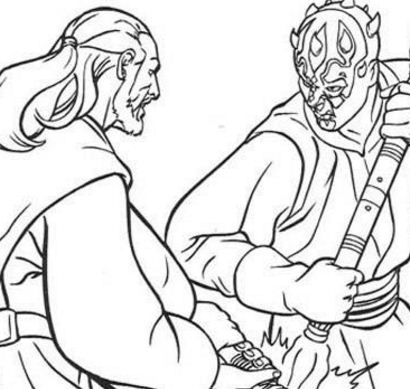 Jedi Knight Qui-Gon Jinn fighting a duel with Darth Maul Coloring Page