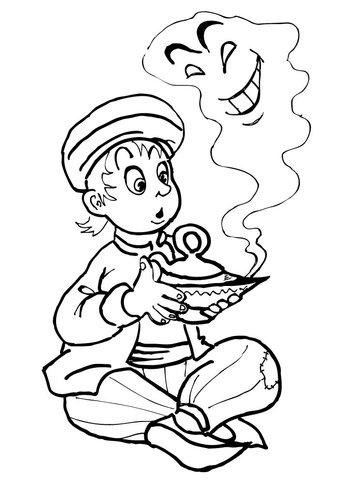 Aladdin kid and the Genie from Aladdin Coloring Page