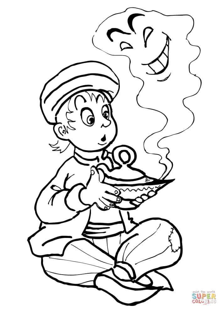 Aladdin Kid And The Genie From Aladdin Coloring Page Free