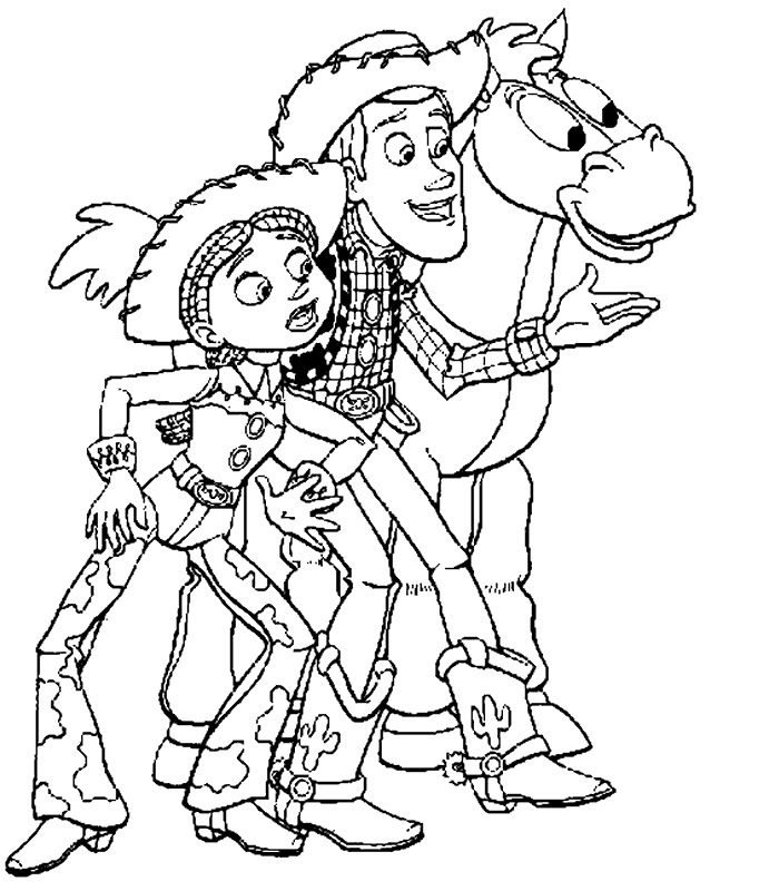 Jessie, Woody and Bulleyes Coloring Page