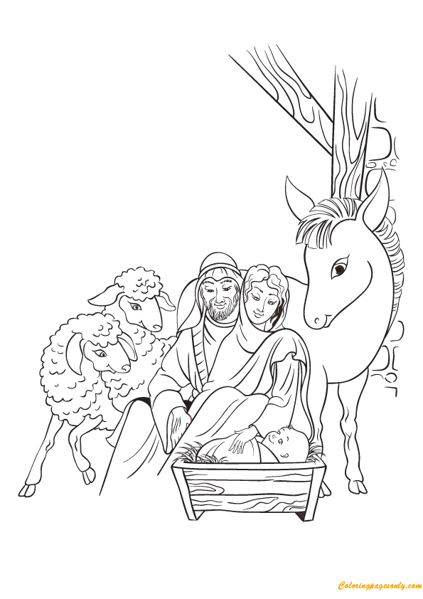 Jesus Born On 25th December Coloring Page