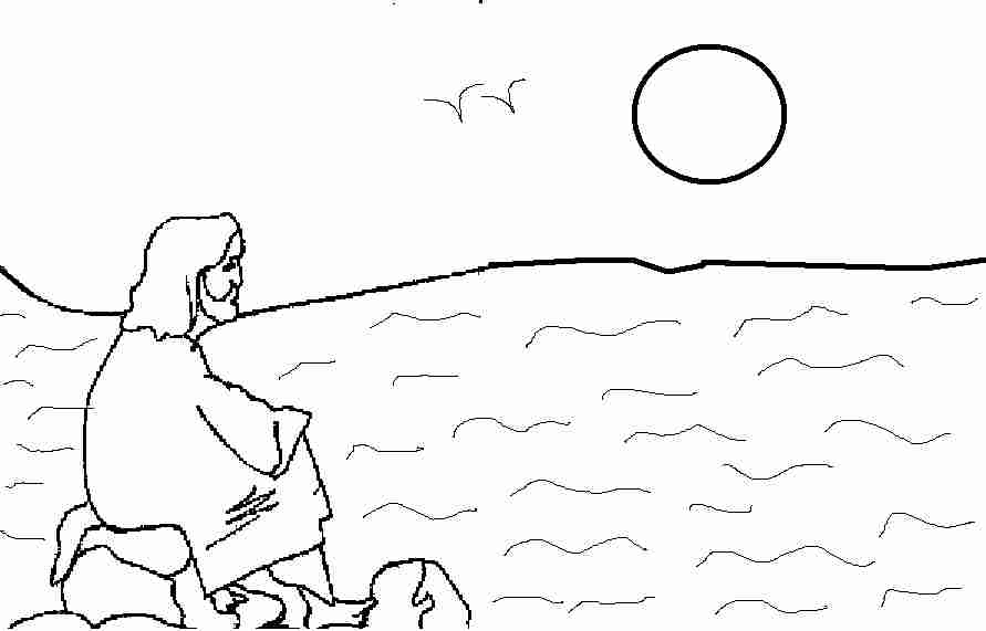 Jesus looking sea at sunset Coloring Page