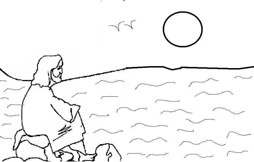 Jesus looking sea at sunset Coloring Pages