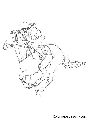 jockey on a galloping horse coloring page