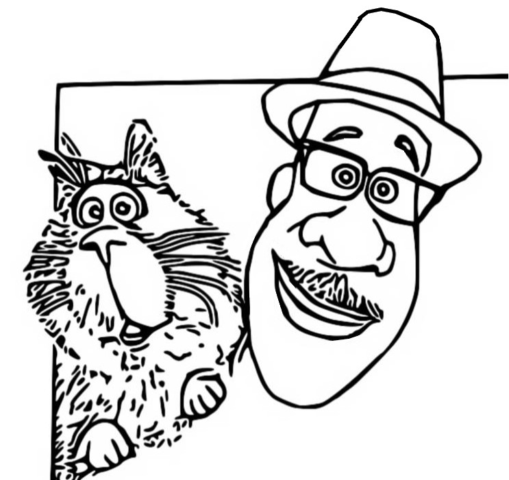 Joe and his cat Coloring Page