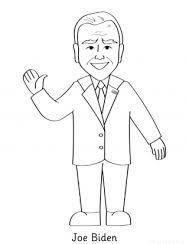 Joe Biden waving hand Coloring Page