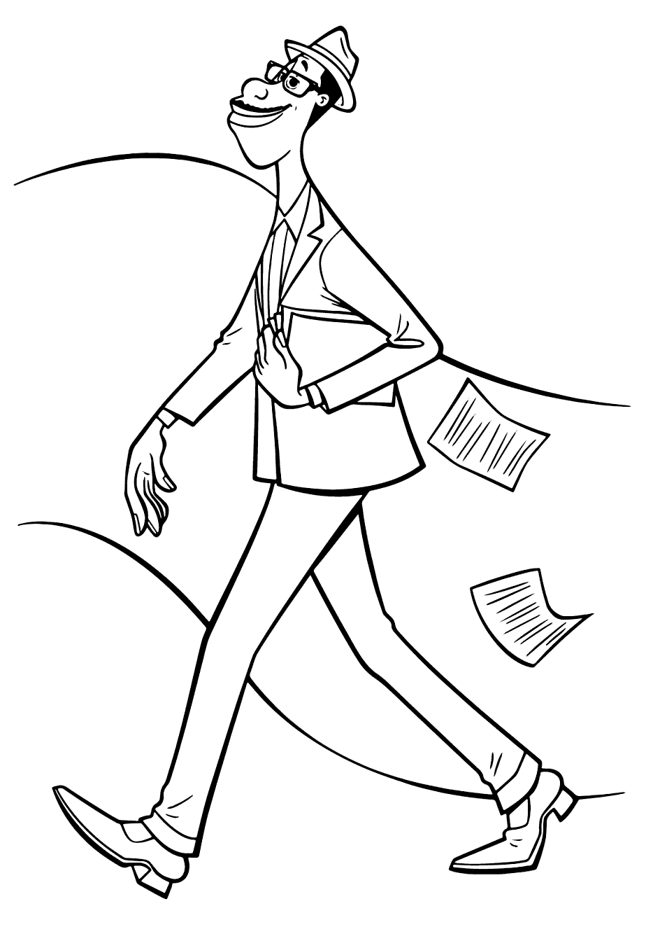 Joe walking Coloring Page