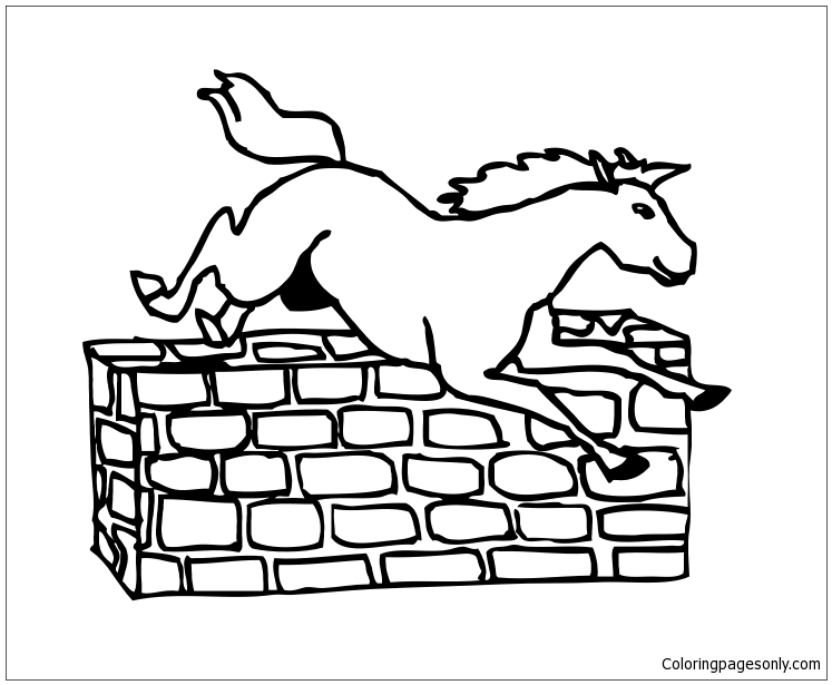Jumping Horse Animal Coloring Pages Kids (With images) | Horse ... | 615x747