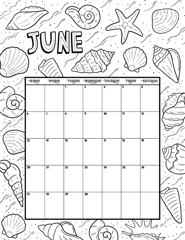 June Calendar 2021 Coloring Pages - Calendar For 2021 ...