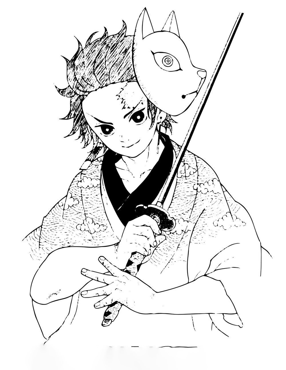 Kamado Takeo Coloring Pages
