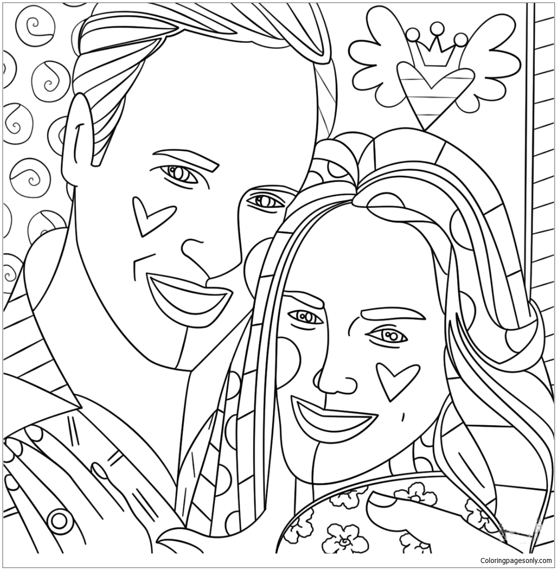 Kate Middleton and Prince William by Romero Britto Coloring Page ...