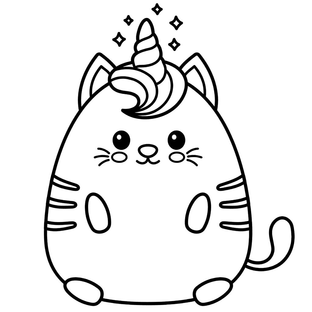 Kawaii Cat Unicorn Coloring Page