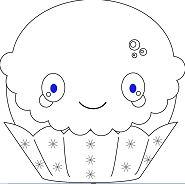 Kawaii Christmas Cupcake Coloring Page