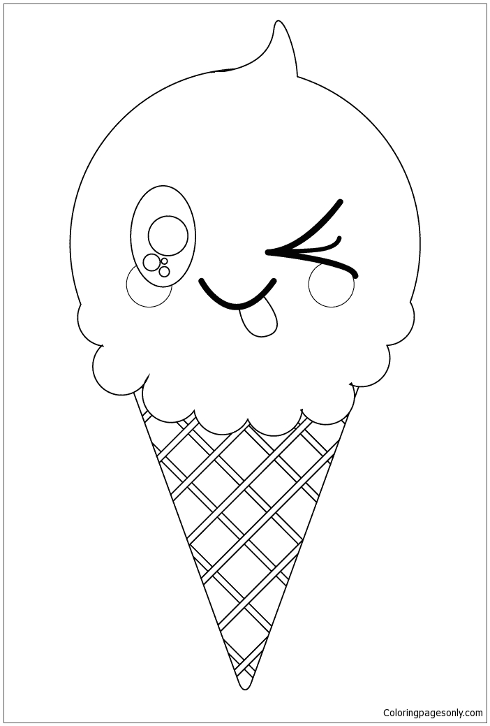 Kawaii Ice Cream Cone Coloring Page
