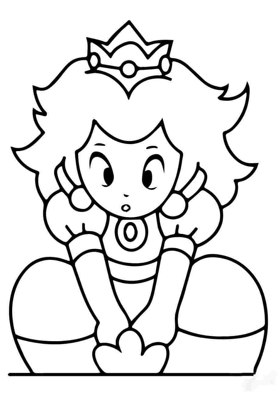 Kawaii Princess Peach in Super Mario Bros Coloring Page