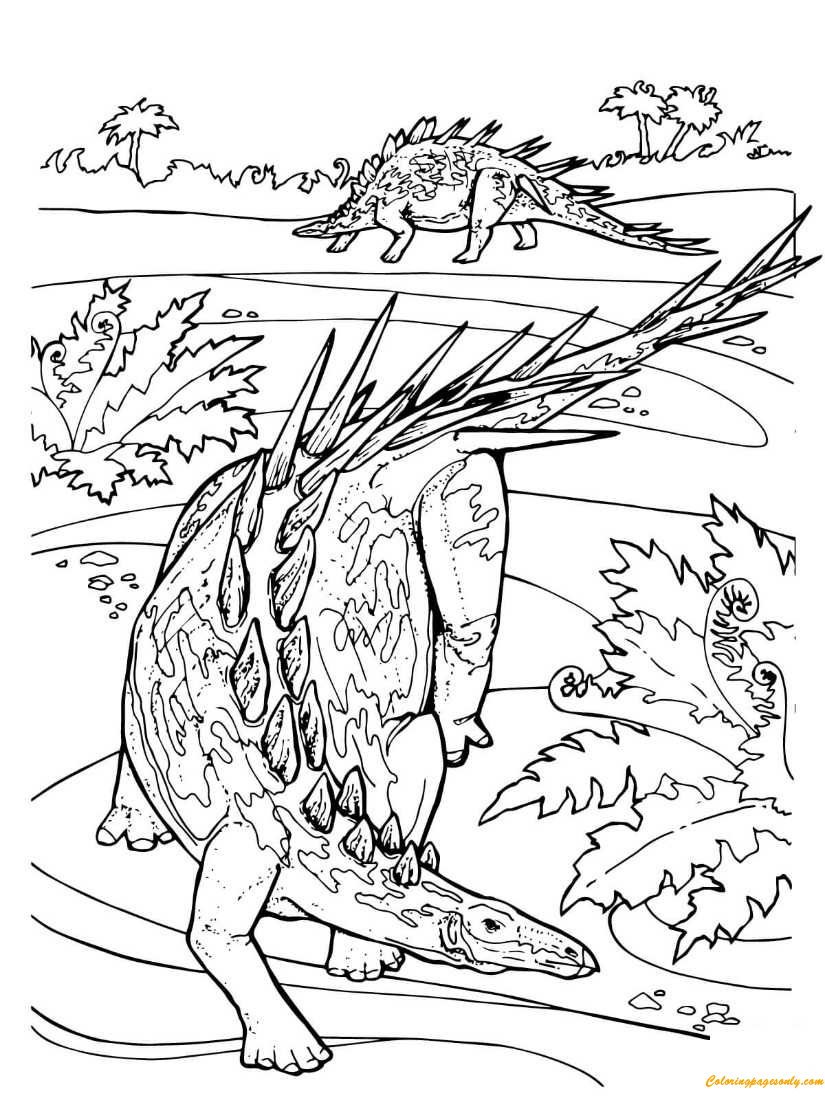 Kentrosaurus Stegosaurid Jurassic Dinosaur Coloring Page