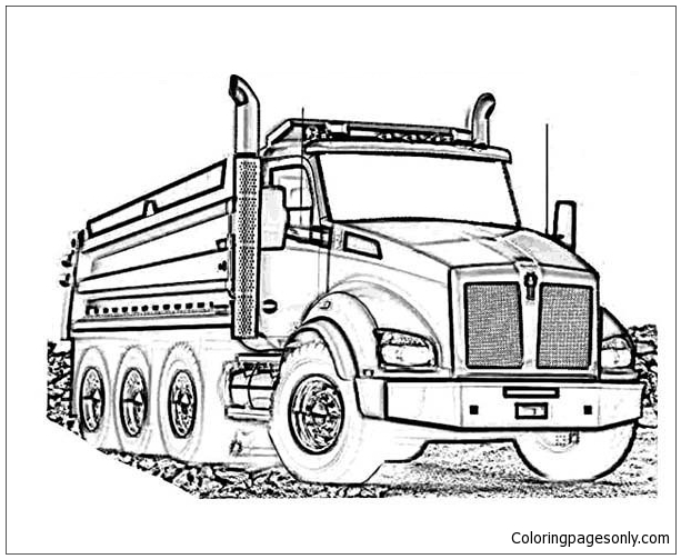 Kenworth Log Truck Coloring Page - Free Coloring Pages Online