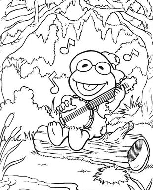 Kermit Sings A Song In Forest Coloring Page